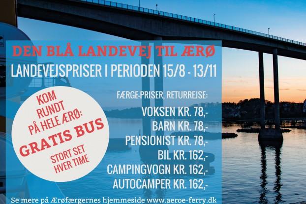 Landevejspriser: Færgeprisen til Ærø er reduceret udenfor højsæson